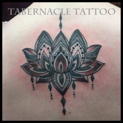 Dotwork lotus tattoo