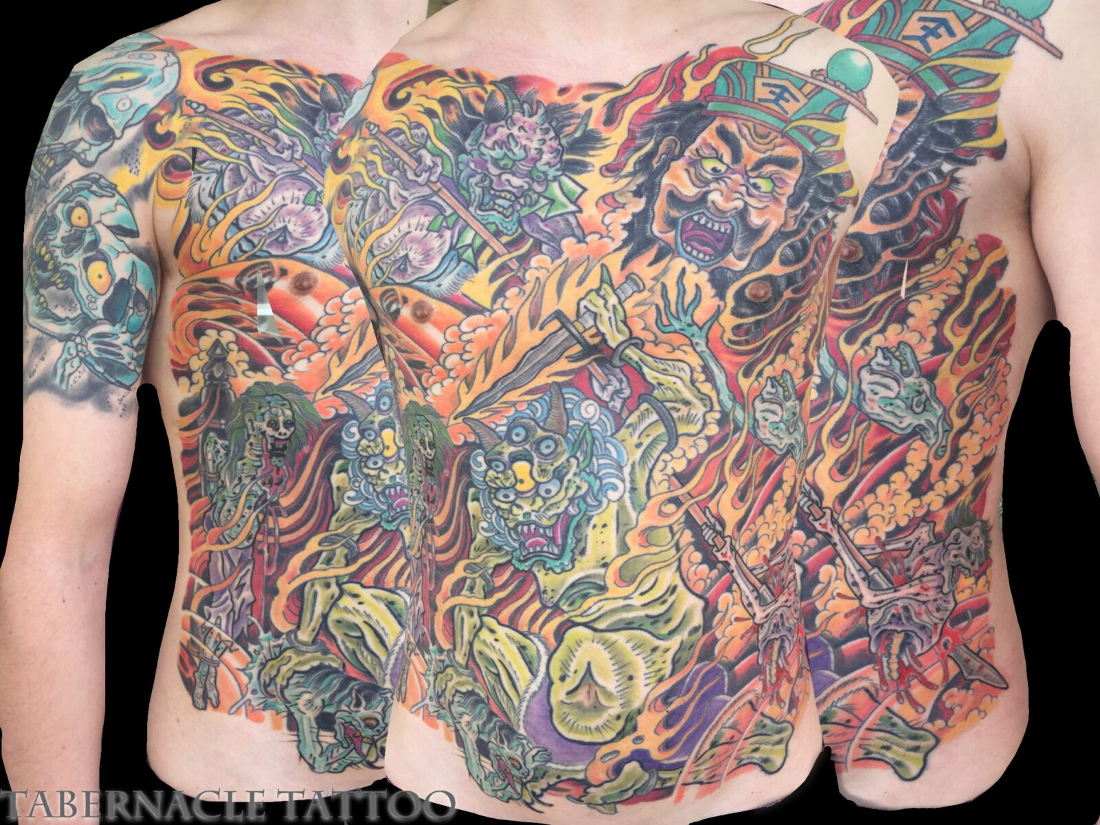 Hell Scrolls| Kyosai| Color Torso Tattoo