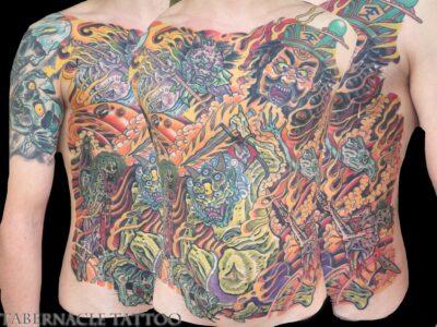 Japanese hell scroll tattoo