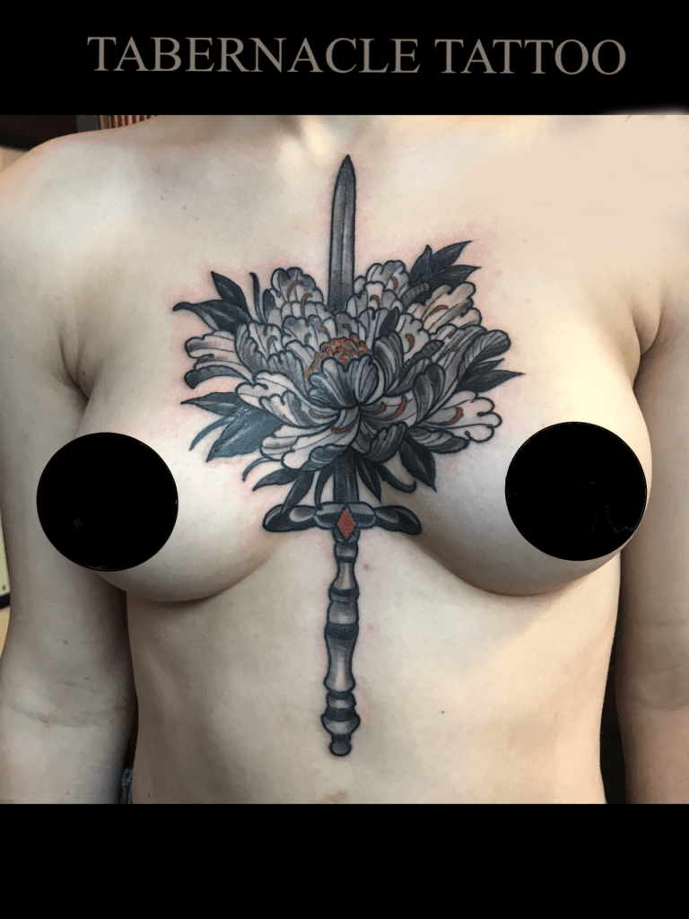 Sword through Peony Flower