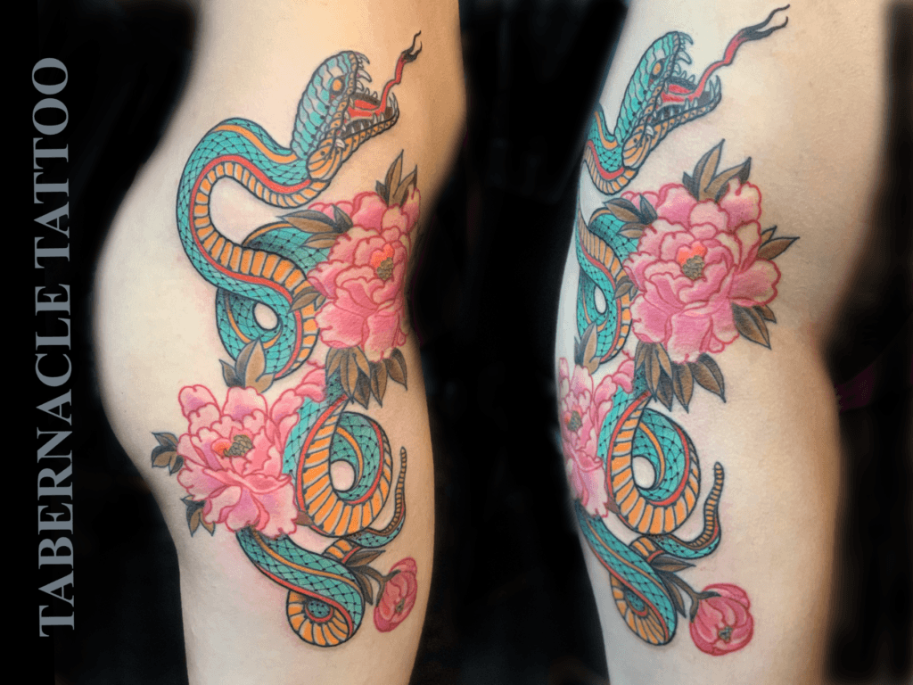 Japanese thigh tattoo for women