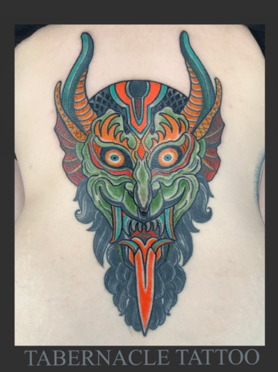 Traditional devil tattoo