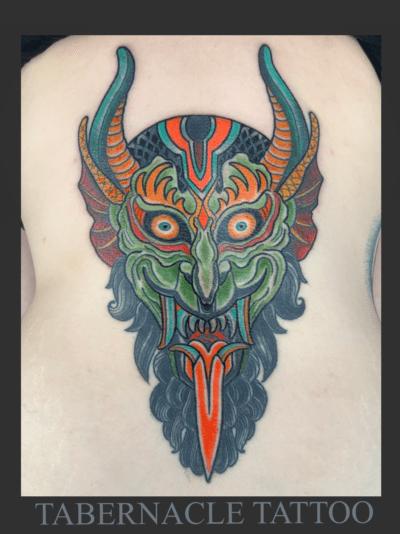 Traditional devil tattoo
