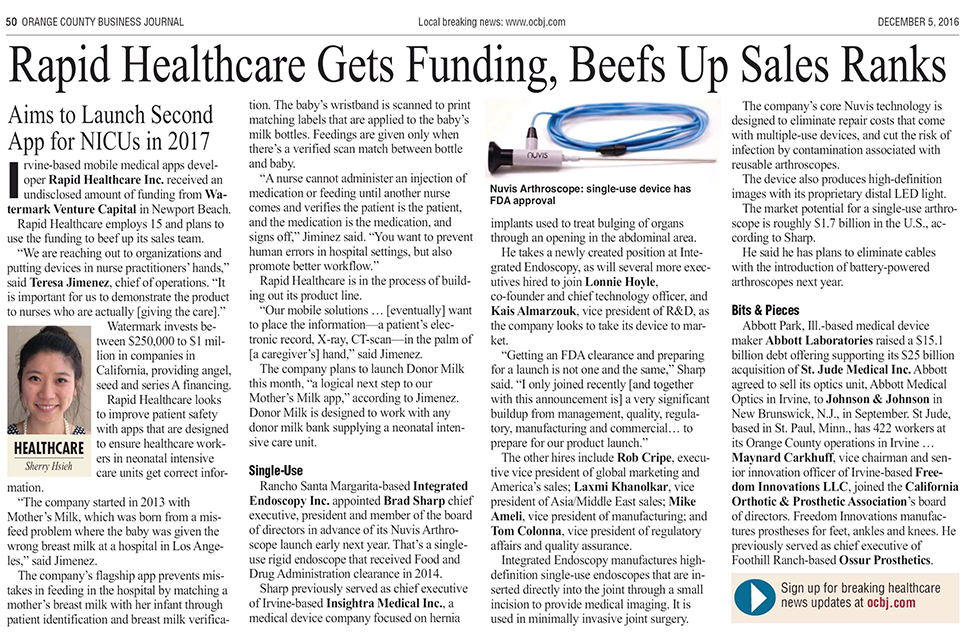 Rapid Healthcare Gets Funding, Beefs Up Sales Ranks