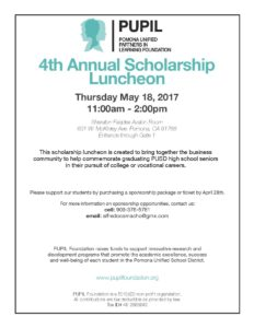 PUPIL 4th Annual Scholarship Luncheon @ Sheraton Fairplex Avalon Room  | Pomona | California | United States