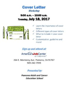 Cover Letter Workshop @ America's Job Center   Pomona   California   United States