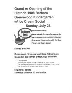 Grand Re-Opening of the Barbara Greenwood Kindergarten/Ice Cream Social @ Barbara Greenwood Kindergarten   Pomona   California   United States