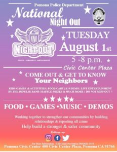 National Night Out hosted by PPD and City of Pomona @ Pomona Civic Center | Pomona | California | United States