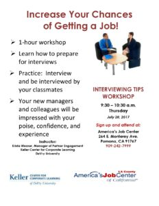 Interviewing Workshop @ America's Job Center | Pomona | California | United States