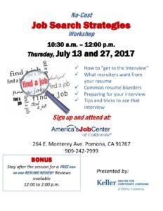Job Search Strategies Workshop @ America's Job Center   Pomona   California   United States