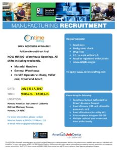 Manufacturing Recruitment @ America's Job Center   Pomona   California   United States