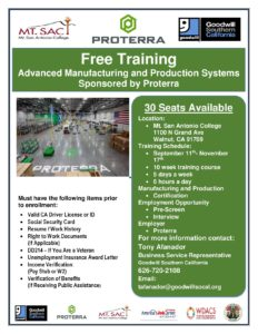 Manufacturing and Production Systems Training ***FREE 10-Weeks Training*** @ Mt San Antonio College | Walnut | California | United States