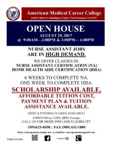 AMCC Open House @ American Medical Career College | Pomona | California | United States