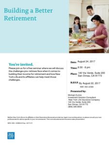 Retirement Planning Challenges Seminar @ New York Life Insurance Company | San Dimas | California | United States