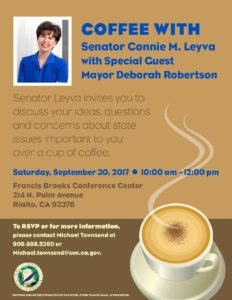 Coffee with Senator Connie M. Leyva @ Francis Brooks Conference Center | Rialto | California | United States