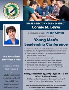 Young Men's Leadership Conference - presented by Senator Connie M. Leyva @ California Steel Industries Campus Building A, InTech Training Center | Fontana | California | United States