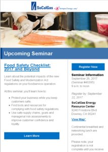 "Seminar ""Food Safety Checklist: 2017 and Beyond"" @ SoCalGas Energy Resource Center 
