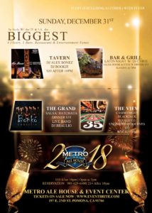 Metro Ale House's New Years Eve Celebration @ Metro Ale house & Grill | Pomona | California | United States