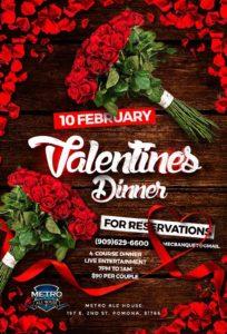 Valentines Dinner @ Metro Ale house & Grill | Pomona | California | United States