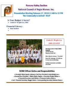 Pomona Valley NCNW Presentation Meeting @ Casa Colina Hospital | Pomona | California | United States