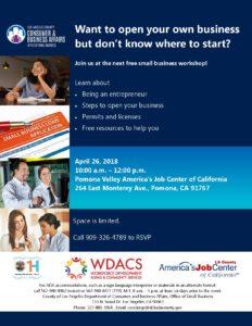 FREE Small Business Workshop @ Pomona Valley America's Job Center | Pomona | California | United States