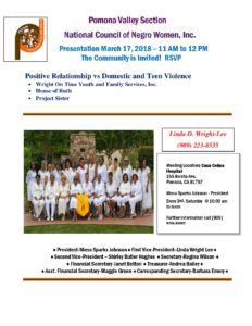 Pomona Valley NCNW Presentation Meeting @ Casa Colina Hospital | Pomona | California | United States