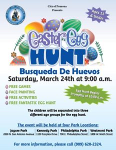 Easter Egg Hunt @ 4 Pomona Park Locations (See Flyer)
