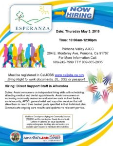 Job Fair: Esparanza @ Pomona Valley America's Job Center | Pomona | California | United States