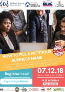 Free Webinar - How to File a Fictitious Business Name @ University of La Verne