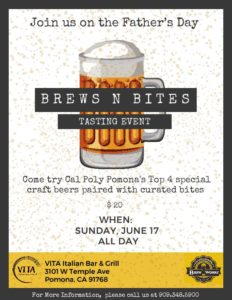 Brews & Bites for Father's Day @ VITA Italian Bar & Grill | Pomona | California | United States