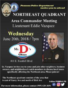 Public Meeting - Pomona Police Northeast Quadrant @ Mr. D's Diner | Pomona | California | United States