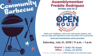 SUMMER OPEN HOUSE @ District Office, Assemblymember Freddie Rodriquez | Chino | California | United States