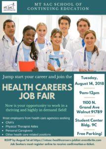 Job Fair - Health Care Careers @ Mt. Sac School of Continuing Education | Walnut | California | United States
