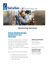 SEMINAR - FOOD SERVICE ENERGY SAVINGS @ SoCalGas Energy Resource Center | Downey | California | United States