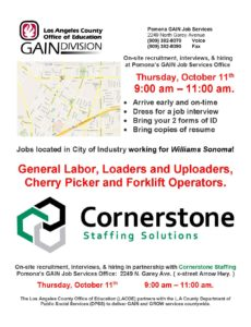 Hiring Event with LA County Office of Education GAIN Division @ Cornerstone Staffing | Pomona | California | United States