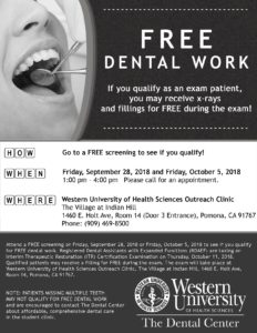 FREE Dental Work Event - Western University of Health Sciences @ The Village at Indian Hill | Pomona | California | United States