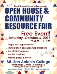 English as a Second Language Open House & Community Resource Fair @ Mt. San Antonio College | Walnut | California | United States
