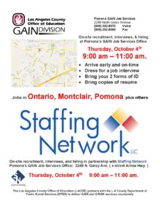 Hiring Event with Pomona GAIN Job Services @ Pomona GAIN Job Services  | Pomona | California | United States