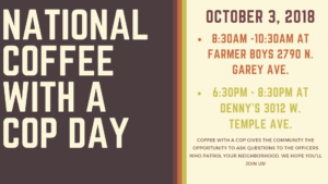 Pomona Police Department National Coffee with a Cop Day @ Farmer Boys | Pomona | California | United States