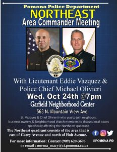 Pomona Police Department Northeast Area Commander Meeting @ Garfield Neighborhood Center | Pomona | California | United States
