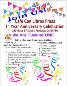 Cafe Con Libros Press - 1 Year Anniversary Celebration @ Cafe Con Libros Press  | Pomona | California | United States