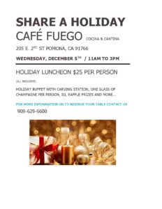 Share a Holiday at Cafe Fuego @ Cafe Fuego | Pomona | California | United States