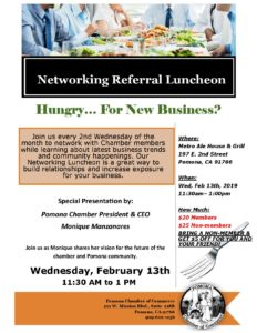 February Networking Luncheon @ Metro Ale house & Grill