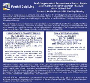 Foothill Gold Line Public Meeting @ La Verne Community Center