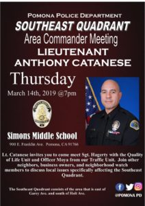 Pomona Police Department Southeast Quadrant @ Simons Middle School