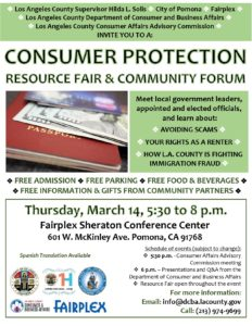 Consumer Protection Resource & Fair Community Forum @ Fairplex Sheraton Conference Center