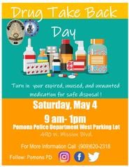 Drug Take Back @ Pomona Police Department Parking Lot