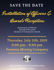 Save The Date for the Installation of Officers & Award Reception @ Pomona Mining Co