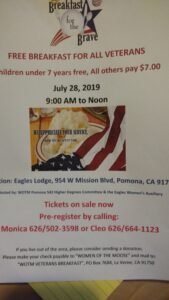 Women of the Moose is hosting a free breakfast for veterans @ Eagles Lodge