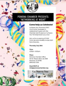 Networking at Night- La Nueva Voz 10 Year Anniversary @ Mission Promenade- Chamber Office